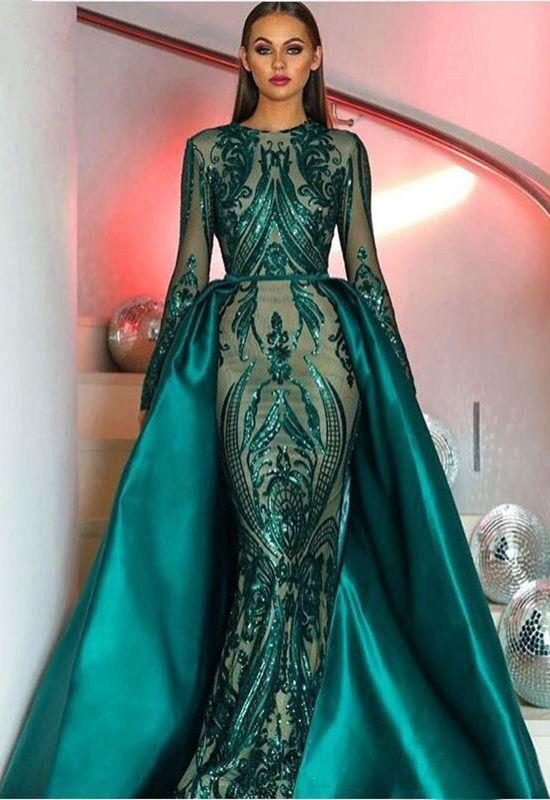 Glitzer Abendkleid Langarm Dunkelgrun Pailletten Abendkleid Kleider Elegante Abendkleider