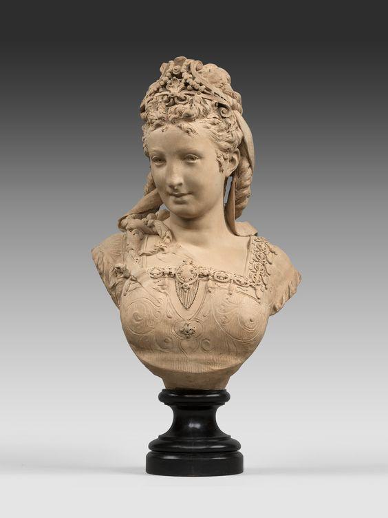 femme au diad me 1860 buste par carrier belleuse statue busti pinterest. Black Bedroom Furniture Sets. Home Design Ideas