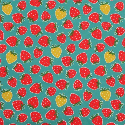 Meergrüner bedruckter Baumwolle Oxfordstoff rote gelbgrüne Erdbeere aus Japan - Essen Stoffe - Stoffe - kawaii shop modeS4u