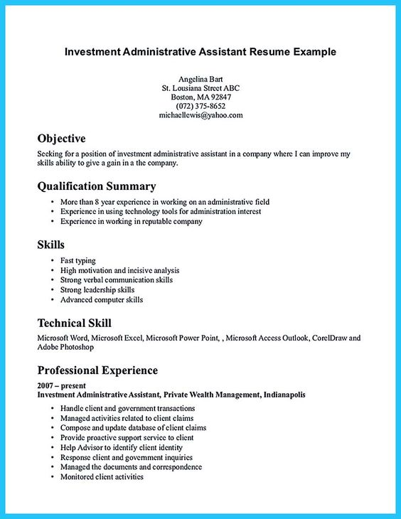 awesome Best Administrative Assistant Resume Sample to Get Job - executive assistant resume skills