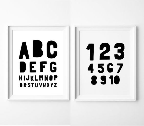 Nursery Printable Set of 2  Alphabet and Numbers by BabyCoStore