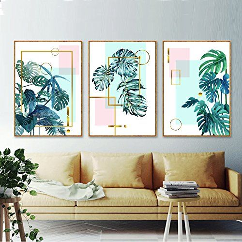 Amazon Com Modern Green Monstera Leaves Geometric Shape Canvas Print Wall Art Poster Airbnb Home Decor Cafe Office Ho Room Wall Art Decor Wall Decor Pictures for living room amazon