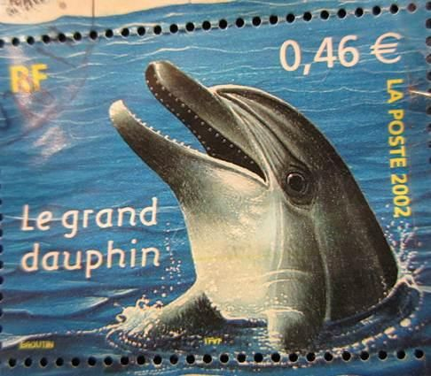 French 2002 stamp with dolphin. More about stamp collecting: http://sammler.com/stamps/