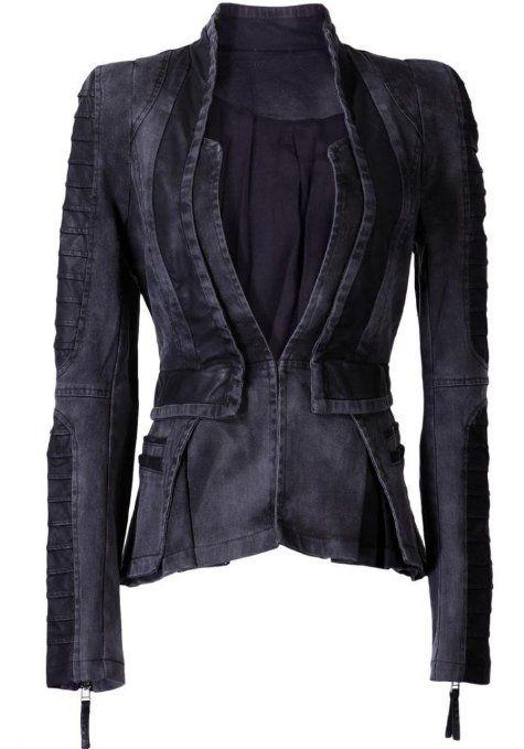 Lookbookstore Damen Denim PU Leder Zip Sleeve Falten Tuxedo Jacken Blazer: Amazon.de: Bekleidung