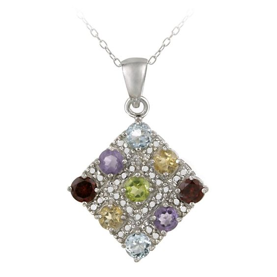 Glitzy Rocks Sterling Silver Diamond Accent Gemstone 2.5ct TGW Necklace