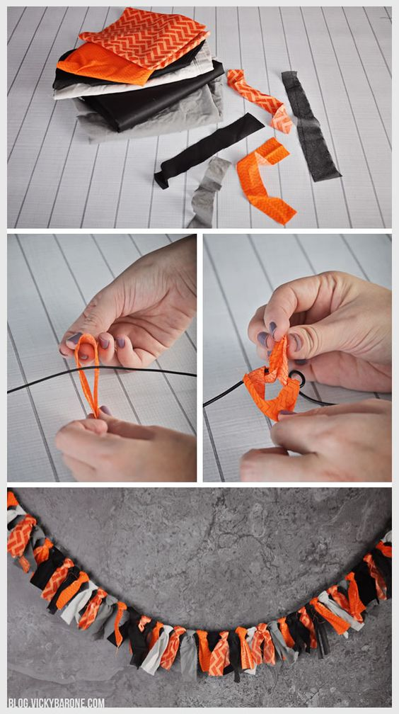Easy no sew Halloween garland - hand made with fabric strips in fall colors!