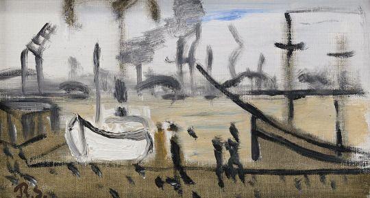 Ragnar Sandberg (Swedish, 1902-1972), Lilla Bommen. Oil on canvas, 19 x 32 cm.