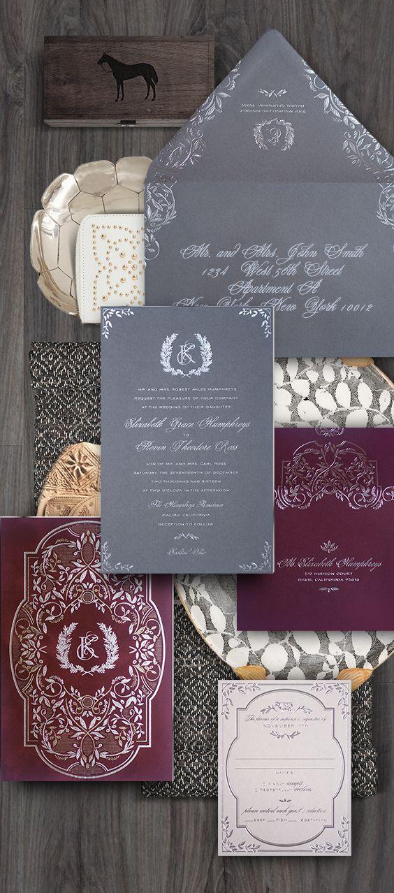 Rustic Burgundy Grey And Silver Wedding Invitation For A Farm To Table Inspired Silver Wedding Invitations Luxury Wedding Invitations Burgundy Silver Wedding