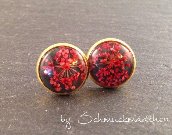Ohrringe Stecker Gold Blüte Rot Grau