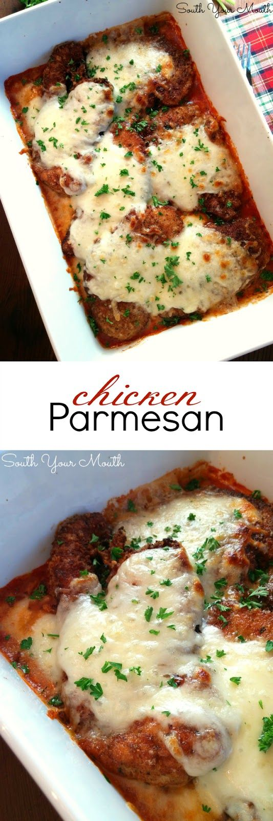 Chicken Parmesan! Crispy chicken cutlets breaded in parmesan and bread crumbs topped with gooey melted mozzarella with marinara sauce.