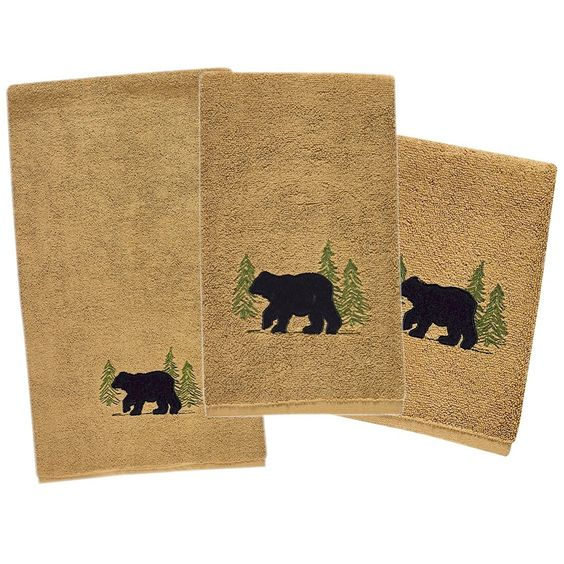 Bear 3 piece Bath Towel Set | Brown | Park Designs