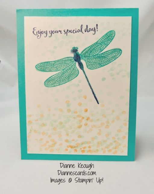 Easy birthday card made with Dragonfly Dreams stamp set. this stamp set uses two-step stamping. See blog post for details: http://diannescards.com/2017/01/dragonfly-dreams…rthday-greetings/