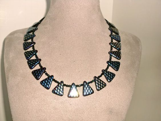 Czech glass triangle beads with mirrored finish
