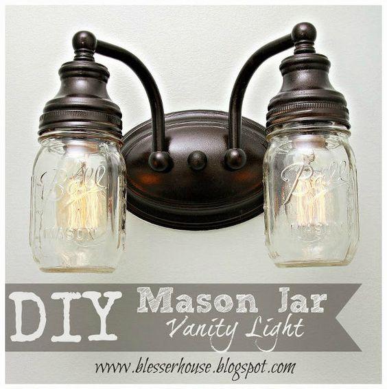 Diy mason jar vanity light bathroom ideas diy for Bathroom jar ideas