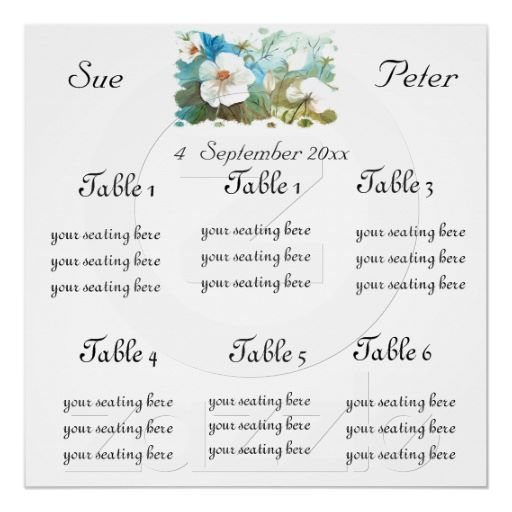 WHITE CAMELLIAS SEATING SHART POSTER