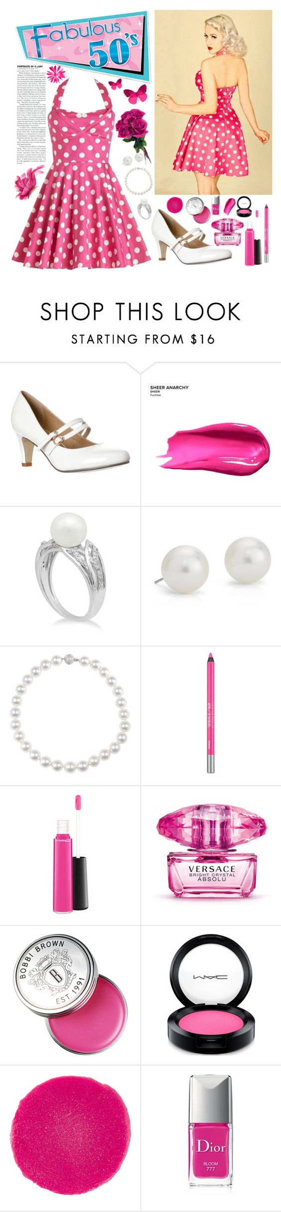 """""""Fabulous 50s"""" by whims-and-craze ❤ liked on Polyvore featuring Urban Decay, Blue Nile, MAC Cosmetics, Versace, Bobbi Brown Cosmetics, Christian Louboutin and Christian Dior"""