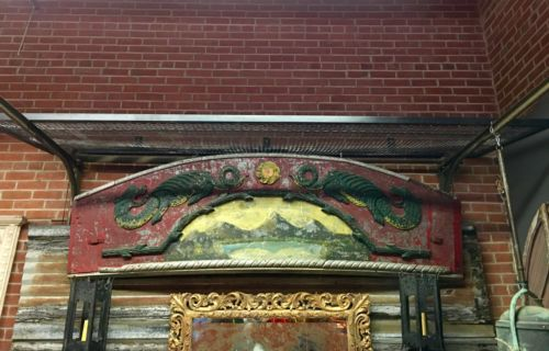 Antique Carved, Painted Architectural Piece From Carnival   Parkhouse Antiques Dealer #1969  Lost. . .Antiques 1201 N. Riverfront Blvd. Dallas, TX 75207  Monday - Saturday: 10am - 5pm Sunday