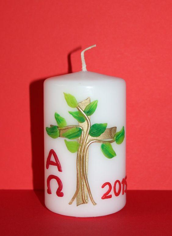 Osterkerze Baum  Kerzen  Pinterest