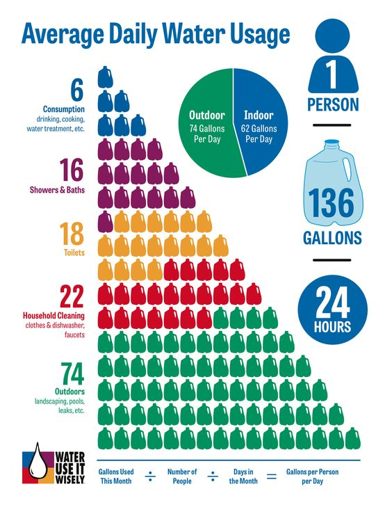 100+ Ways To Conserve Water and Use It Wisely - Water Conservation Resource for Girl Scouts Brownies Completing the Wow! Wonders of Water Journey (Average Daily Water Use Infographic):