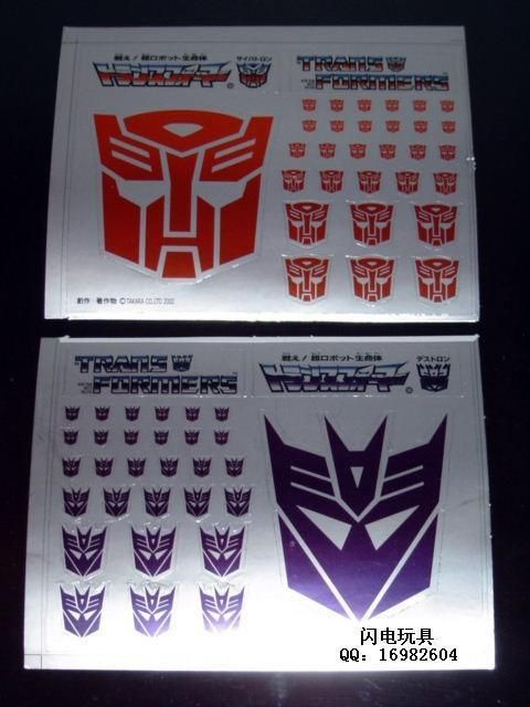G1 AUTOBOT//DECEPTICON PARTS LABELS TRANSFORMERS GENERATION 1 STICKERS
