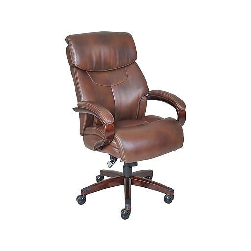 La Z Boy Bradley Leather Executive Office Chair Fixed Arms Brown 44762 At Staples Brown Leather Office Chair Leather Office Chair Executive Office Chairs