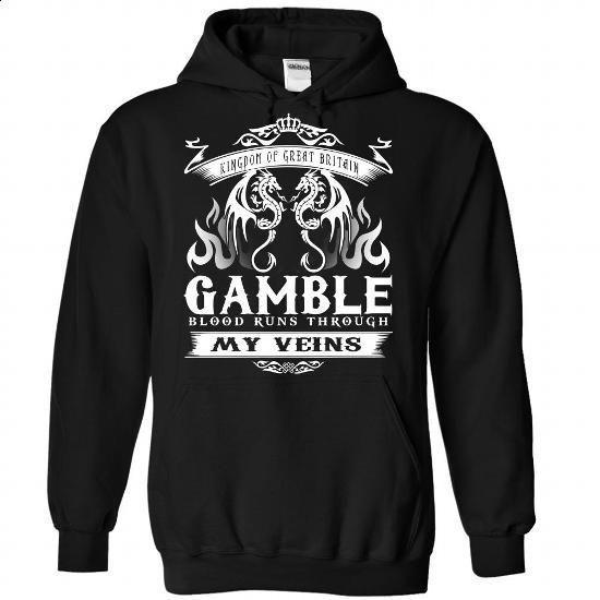 GAMBLE blood runs though my veins - #raglan tee #tshirt display. ORDER NOW => https://www.sunfrog.com/Names/Gamble-Black-Hoodie.html?68278