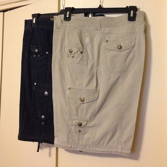 Khakis & Co Cargo Shorts 2 pair of cargo shorts from Khakis &Co. Well cared for Black and Tan shorts Khakis & Co Shorts Cargos