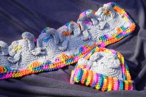 Crochet Pattern  Elephant parade Scarf Set