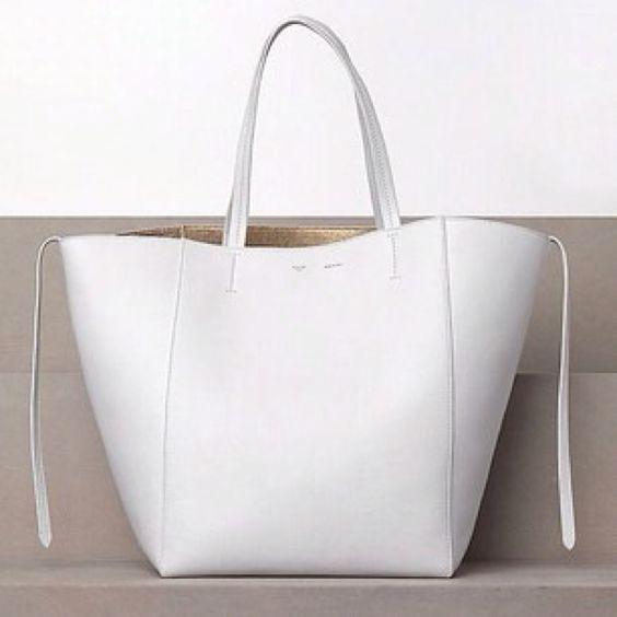 hard to find handbags - Celine White Drummed Calfskin Leather Cabas Phantom Tote Bag ...