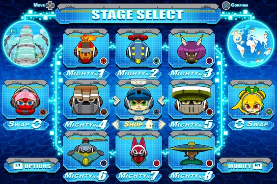 [Mighty No.9] Stage Select mock-up by Availation.deviantart.com on @deviantART