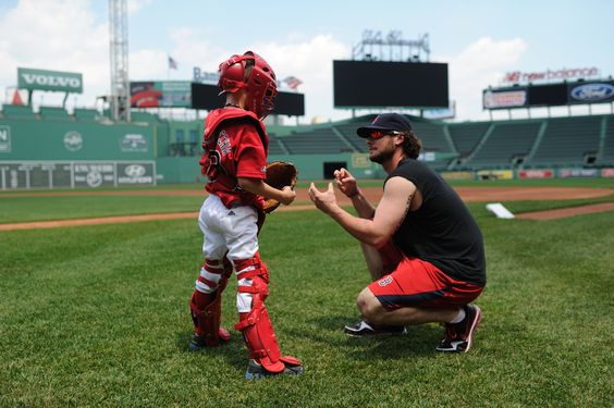 A personal catching lesson from Jarrod Saltalamacchia for a deserving youngster.