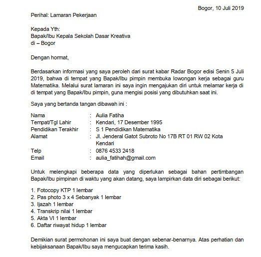Contoh Surat Lamaran Di Sekolah