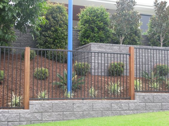 Block Wall Timber Posts And Pool Fence On Pinterest