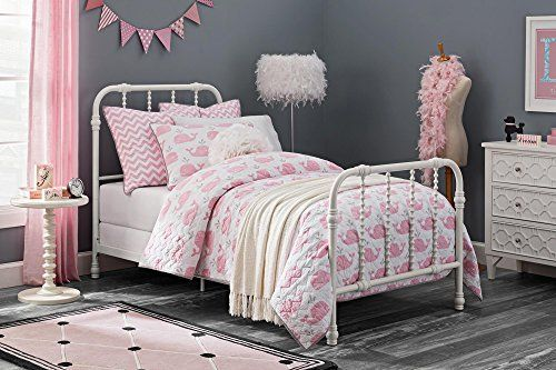 Dhp Jenny Lind Metal Bed Frame In White With Elegant Scroll Headboard And Footboard Twin Size Bed Frame Twin Bed Frame Metal Bed Frame