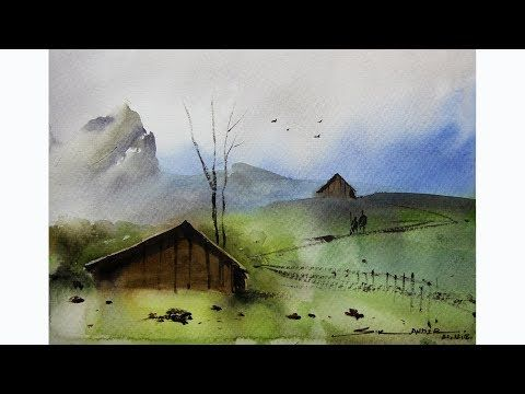 Simple Watercolor Landscape Painting By Sikander Singh Chandigarh