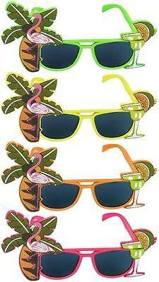FLAMINGO-COCKTAIL-HAWAIIAN-NOVELTY-SUNGLASSES-FANCY-DRESS-TROPICAL-BEACH-GLASSES