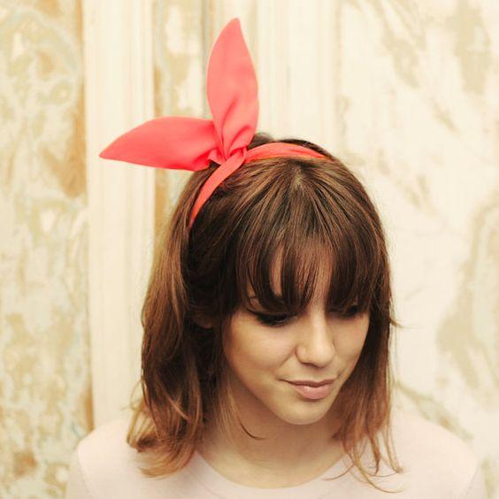Diadema de arco de alambre bendable sólido Rosa neón. Accesorio para atar el pelo lindo y elegante. Cabeza envuelva en Crepé ligero. FW14_02...
