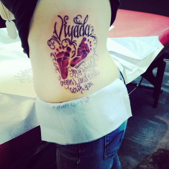 Tattoo My Name Quotes: My Tattoo On My Side/ribs Of My Daughter's Footprints