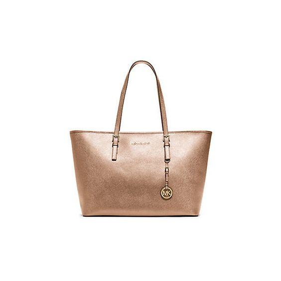 Bolsa Michael Kors Jet Set Saffiano : Michael kors jet set travel medium metallic saffiano