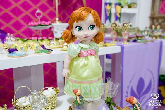 Anna doll decoration at a Frozen birthday party!  See more party planning ideas at CatchMyParty.com!