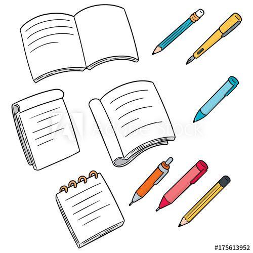 Vector Set Of Notebook Pen And Pencil Buy This Stock Vector And Explore Similar Vectors At Adobe Stock Book Clip Art Props Art Anime Decor