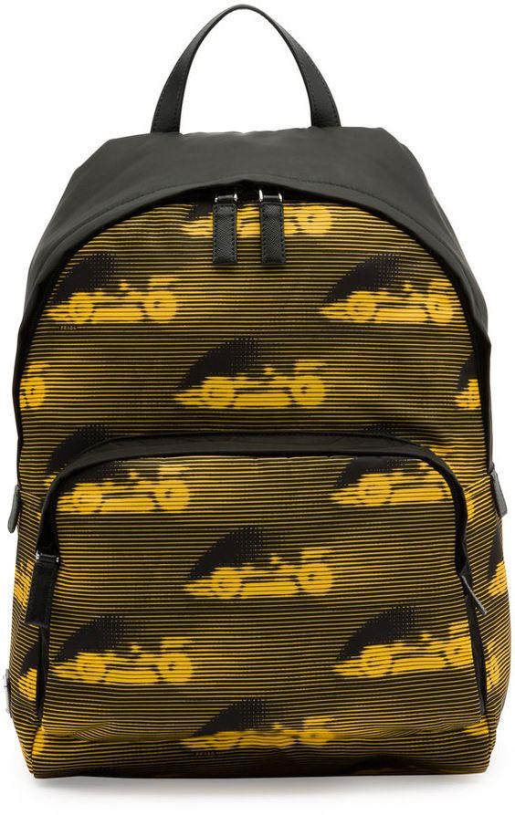 prada discount bags - Prada Car-Print Leather Backpack, Black/Yellow | Prada sale men ...