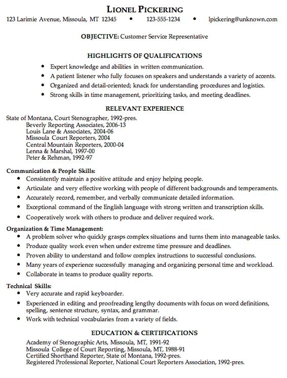 Combination Resume Sample Customer Service Rep Work Pinterest - combination style resume sample