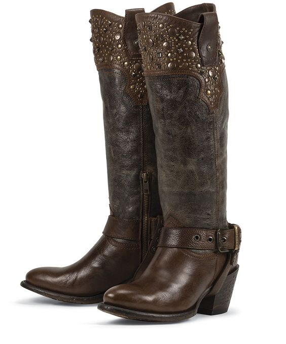Details about New BROWN leather womens ladies cowboy fashion ...