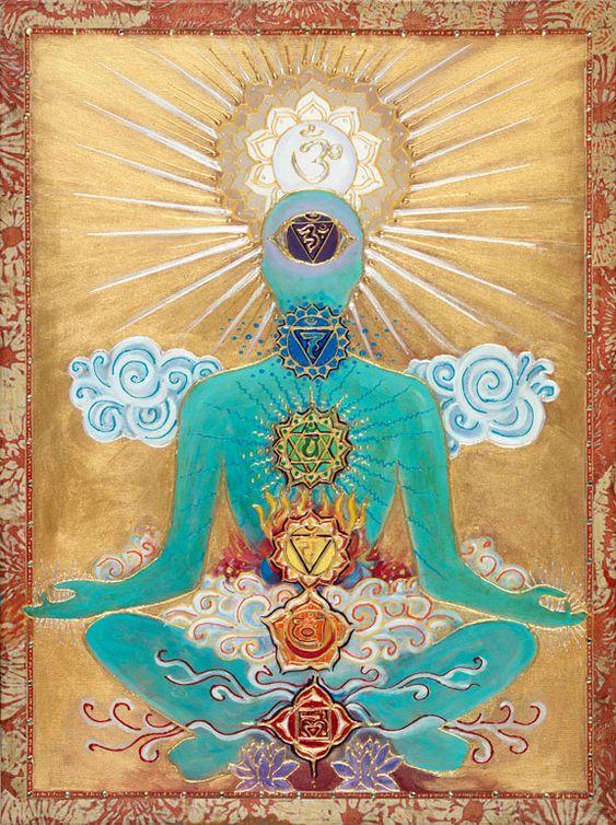 """"""" Chakras, en algunas tradiciones Hinduistas y otros sistemas de creencia, son los centros del Prana, Fuerza de Vida, o Energía Vital. Chakras corresponden a puntos vitales en el cuerpo físico por ejemplo. los plexos principales de arterias, venas y nervios. Los textos y enseñanzas presentan los números diferentes de chakras. """":"""