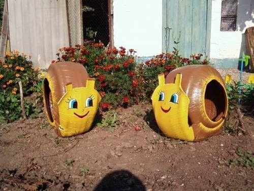 Bichinhos de pneus reciclados para jardim - Artesanato com Reciclagem - O mundo do reaproveitamento!