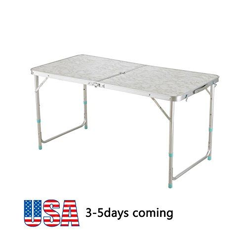 Zinnor 4 Feet Folding Table Upgraded Version Multipurpose Rectangle Table Portable Plastic Indoor Outdoor Picnic Par Camping Table Table Height Folding Table