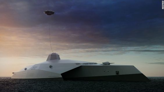 The ship would not have a mast. A tethered quad-copter overhead would house sensors and a laser to take out enemy targets.