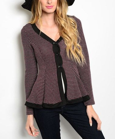 Another great find on #zulily! Burgundy & Black Check Button-Up Cardigan #zulilyfinds