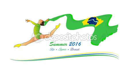 Rio 2016. Summer Brazil 2016. Young gymnast woman in green sportswear dress with Brazilian flag, doing art gymnastics element split leap in the air. Isolated on white background. Abstract Vector Illustration. Hand Drawn. Brazil Flag. Sport — Stock Vector © sofiartmedia.gmail.com #116851568